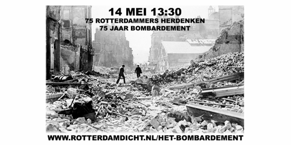 75 Rotterdammers herdenken 75 jaar bombardement